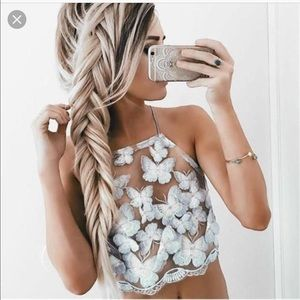 Sheer butterfly embroidered halter top